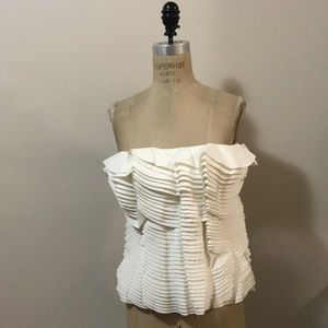 H&M Eddy Anemian Ivory Bustier Pleated Top